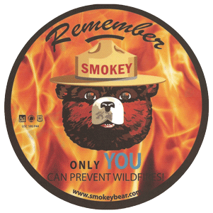"Static Cling Decal ""Smokey the bear"" by Serigraphic Screen Print"